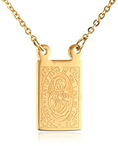 s stainless steel 18k gold plated scapular