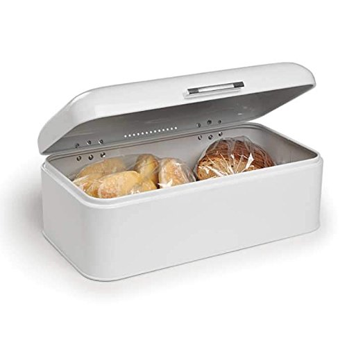 Paksh Novelty Countertop Bread Bin Stainless Steel Storage Box, Tight-Seal Lid, White, Extra Large