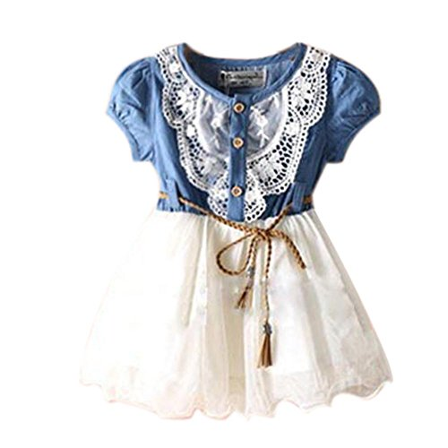 Urparcel Baby Girl Tutu Denim Dress Short Sleeve Lace Princess Party Skirts 1-6Y