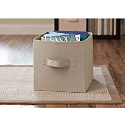 Collapsible Fabric Storage Cube, Set of 8 for Kids and Adults, Perfect for Toys and Small Items, in Tan