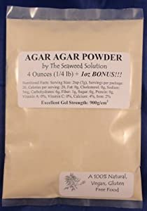 Agar Agar Powder - 4 Ounces + 1 Bonus Ounce Free!!!, Excellent Gel Strength 900g/cm2