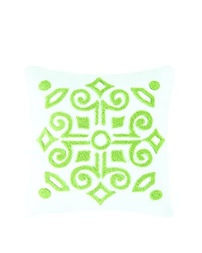 Boxwood Abbey Tufted Pillow, Green/White