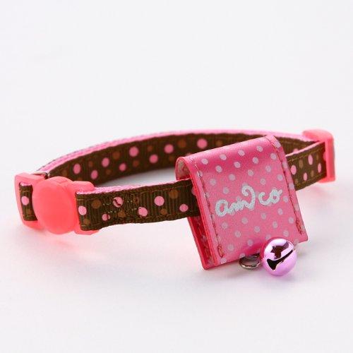 【アミコ】【迷子札付き猫首輪】水玉キャットカラー ポーチ付き 色:822 ピンク