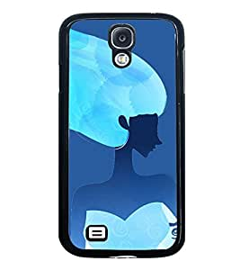 Fuson Premium 2D Back Case Cover Girl in Blue With white Background Degined For Samsung Galaxy S4 Mini::Samsung Galaxy S4 Mini i9190