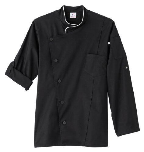 White Swan Five Star Men's Long Sleeve Executive Stretch Chef Coat (Black M) (Five Star Chef Apparel compare prices)