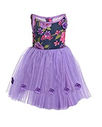 RoopRahasya Girls' Raw Silk Designer Dress Frock_NBLV123_18M_Navy Blue & Lavender
