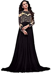 Regalia Ethnic New Collection Black Embroidered Lycra Semistitched Gown Type Anarkali With Matching Dupatta