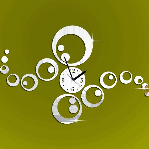 Colorfulhall - Silver Creative Rounds Dots Wall Clock Mirror Wall Clock Fashion Modern Design Removable Diy Acrylic 3D Mirror Wall Decal Wall Sticker Decoration front-997543
