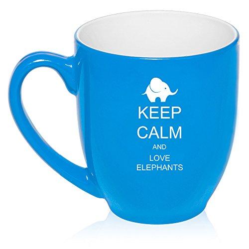 16 Oz Light Blue Large Bistro Mug Ceramic Coffee Tea Glass Cup Keep Calm And Love Elephants