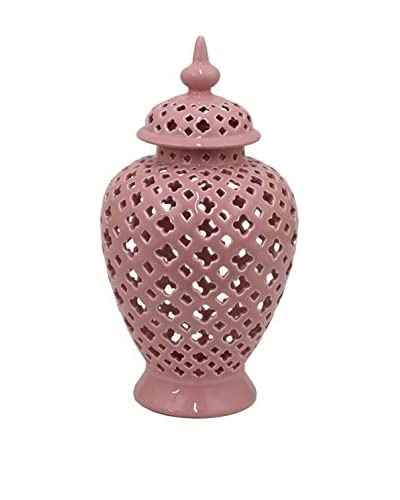 Three Hands Temple Jar with Cutouts, Pink As You See