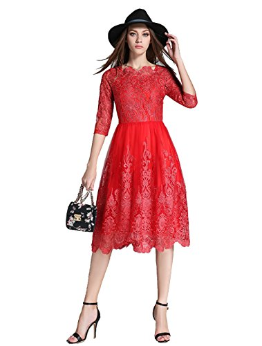 [Desimpler Women's Elegant Embroidery Empire Knee Length Cocktail Party Dress (XS, Red)] (Hollywood Fancy Dress)