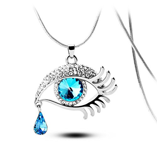 Angel's Tears Gold Plated Eye Shape Austrian Crystal Pendant Necklace for Womens in Fashion Jewelry (Prism Crystal Necklace compare prices)