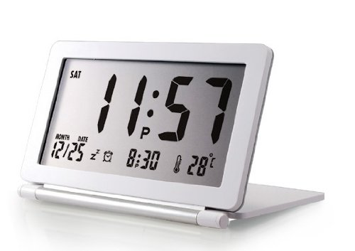 Jcc Glitter Ultra-Slim Travel Pocket Fold Multifunction Alarm Clock With Date And Temperature Display (White) front-702324