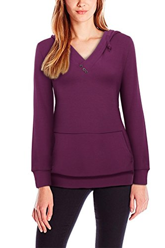 Creti Womens Casual Long Sleeve Hoodies Lightweight Pullover Hooded Sweatshirts, Plum, X-Large (Vapor Ohm compare prices)