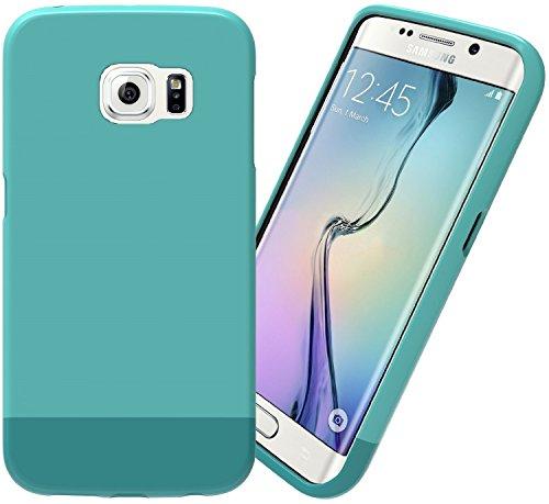 Samsung Galaxy S6 Edge Case: Stalion® Slider Series Matte-UV Textured Sliding Style Protective Hard Case (Teal/Splash)