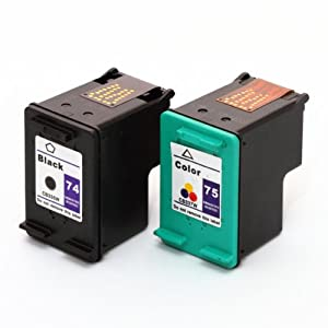 Remanufactured Ink Cartridge Replacement for HP 74 CB335WN  / HP 75 CB337WN (Black & Color), 2 Pack