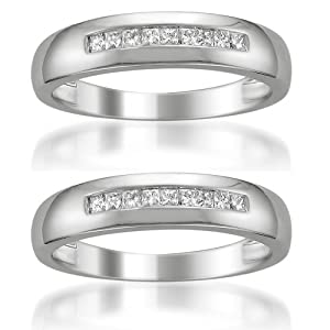 14k White Gold Princess-cut Diamond Men's Same Sex Matching Wedding Band Ring Set (1/4 cttw, H-I, SI2-I1)