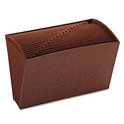 Smead - A-Z Open Accordion Expanding File 21 Pockets Legal Leather-Like Redrope \