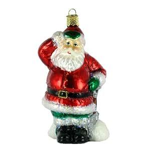 Old World Christmas Shoveling Santa Glass Ornament