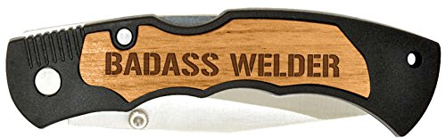 Father's Day Gift for Dad Welding Badass Welder Laser Engraved Stainless Steel Folding Pocket Knife