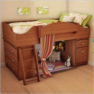 Cheap South Shore Imagine Kids Loft Bed 4 Piece Bedroom Set in Morgan Cherry Finish (3576A3-4PKG)