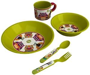 Oops - Juego de utensilios para comer, diseño de búho, caracol y oso, color verde - BebeHogar.com