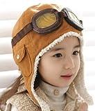 Brankid Brown Winter Baby Earflap,pilot Cap, Children Hats Boys, Flight Caps