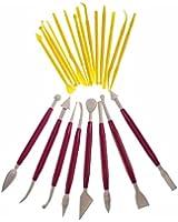 Lot de 22 outils de modelage pour la pâte à sucre (44 embouts différents) - rose par Curtzy TM
