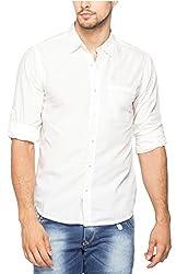 Spykar Men Cotton White Dress Shirt (Large)