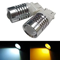 See iJDMTOY (2) Super Bright White/Amber 4W High Power 3157 3057 3155 3357 3457 4157 Switchback LED Bulbs For Front Turn Signal Lights Details