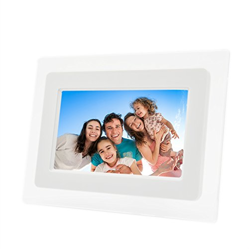 7 Inch TFT LCD Screen Digital Photos Display Frame with Calendar Support Tf Sd /Sdhc /Usb Flash Drives(white)- Support 32GB SD Card-【Upgrade Version】 (Digital Portrait compare prices)