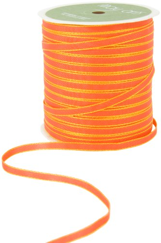 May Arts 1/8-Inch Wide Ribbon, Orange with Yellow Edge