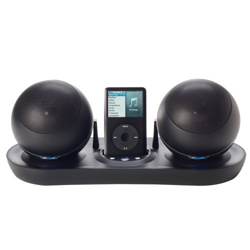 Excalibur Soundmaster Satellite Wireless Speakers With Universal Dock For Ipod And Mp3 Players (Black)