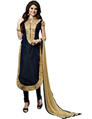 Aarti Lifestyle Women's Chanderi Cotton Embroidered Navy Blue Churidar Suit