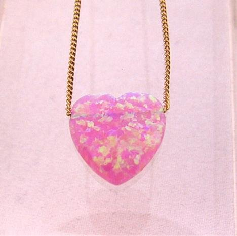 Pink Opal Heart Pendant Gold Filled Necklace