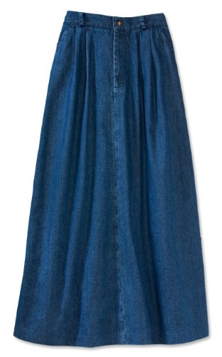 Pleated Vintage Denim Skirt / Petite, Dark Indigo, 4