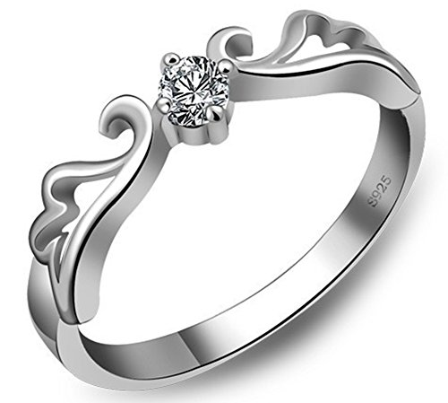 SaySure - 925 Sterling Silver Stone Wing Ladies Ring (SIZE : 8)