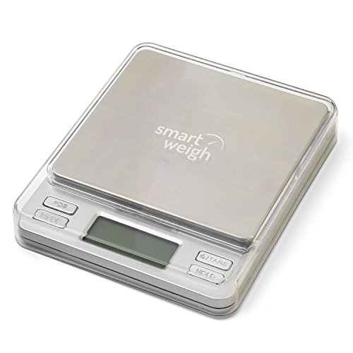 Smart Weigh 500 x 0.01g Digital Pro Pocket Scale with Back-Lit LCD Display, Tare, Hold and PCS Features (2 Lids Included)