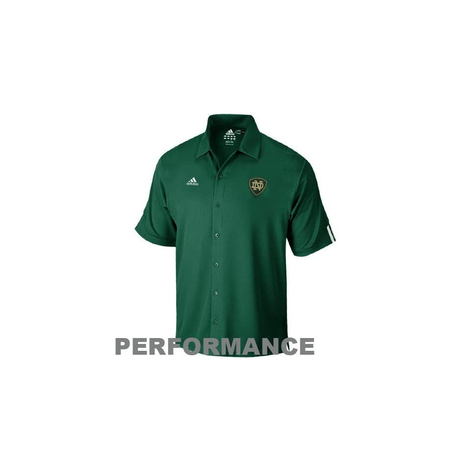 NCAA adidas Notre Dame Fighting Irish Green Big Game ClimaCool Performance Button Down