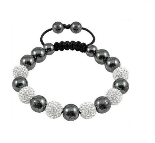 Shamballa 6 X 10 Mm Hand-woven Crystal Bracelet Sky White Disco Ball!box