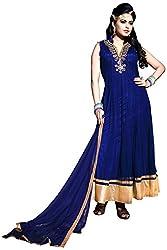 Vraj Raj Tex Women's Georgette Unstitched Dress Material (Blue)