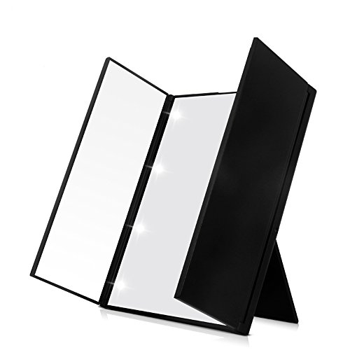 Expower Led Specchio Pieghevole Portatile da Trucco, Specchio Cosmetico Makeup Mirror 3 Piegature Visualizzazione Completa 8 Led Riempimento di Luce con Supporto Regolabile Ottimo Accessorio per Bellezza