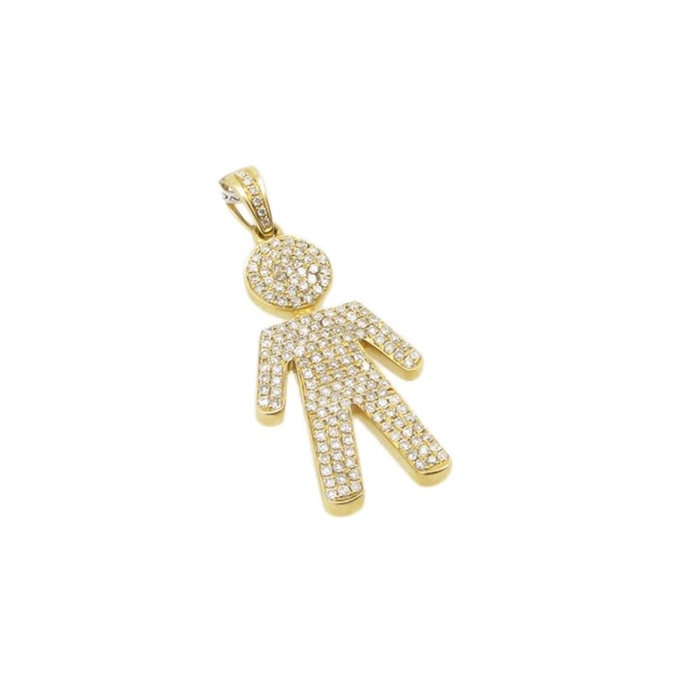 Mens 14k Yellow Gold 0.99ctw diamond Little boy baby doll charm