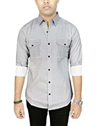 AA' Southbay Men's Grey Armenian Printed 100% Cotton Long Sleeve Casual Shirt