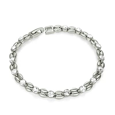 Yoursfs Silver Wheat Simulated Diamond Tennis Bracelet in 18K White Gold Plated Crystal Lucky Bangle