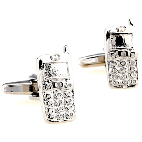 Beour White-gold-plated-silver Delicate Silver Mobilephone Copper Cufflinks