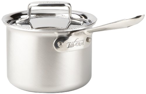 All-Clad BD55202 d5 Brushed Stainless Steel 5-Ply Bonded Dishwasher Safe 2-Quart Sauce Pan Cookware, Silver