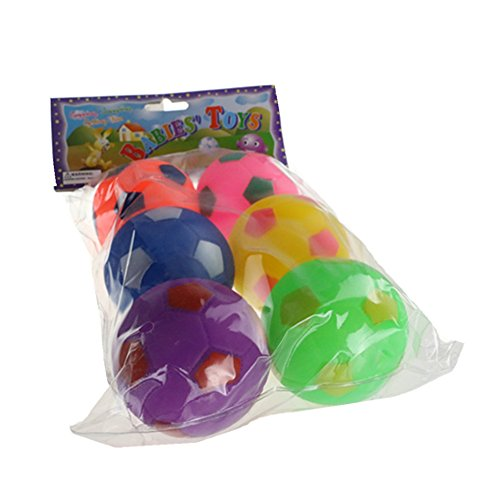 Fajiabao Squeaky Squeaker Quack Sound Ball Toys Soft Football Play Set for Toddlers Babies Kids Infants Birthday Christmas Gifts Pack of 6