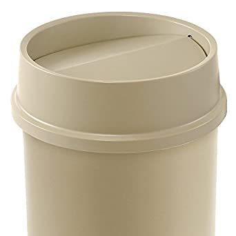 "Rubbermaid Untouchable Top For Containers - Free Swinging Top - Fits Round Base - Beige - 16-1/8"" dia."