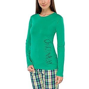 Schiesser - Camiseta de pijama de manga larga con cuello redondo para mujer